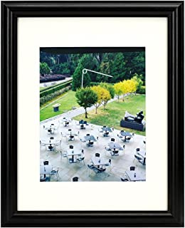 Frametory, 11x14 Black Frame - Curved Bevel Design - Made to Display Pictures 8x10 Photo with Ivory Color Mat - Real Glass (1, Black, 11x14)