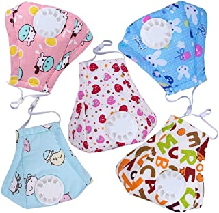 HOLIIBN Kids Anti Pollution Respirator Dust Mask with Exhaust Valve + N95, Air, Dust, Smoke Filters - Cotton Washable PM2.5 Half Face Mask with Adjustable Straps & Nose Bridge.