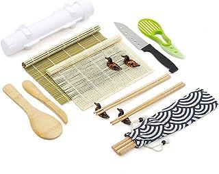 Sushi Making Kit 16 PCS,Contain Bamboo Sushi Mat,Sushi Bazooka,Sushi Knife,Rice Paddle,Bamboo Chopsticks,All-In-One Sushi ...