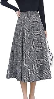 Women's Elastic Waist Belted Wool Blend Check Plaid Midi Skirt