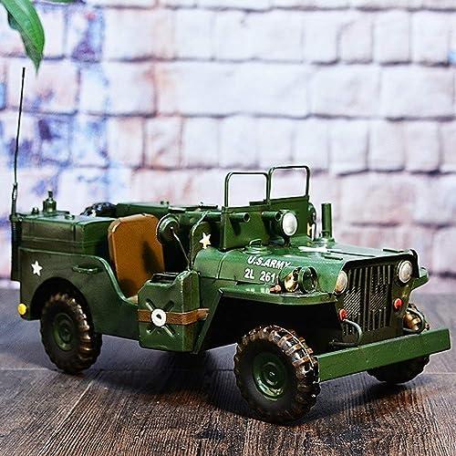 SSBH Décoration de processus de camion antique, modèle de véhicule militaire double rétro, décoration de fenêtre Bar Cafe, cadeau d'anniversaire de souvenir de fête nationale, cadeau de père, cadeau d