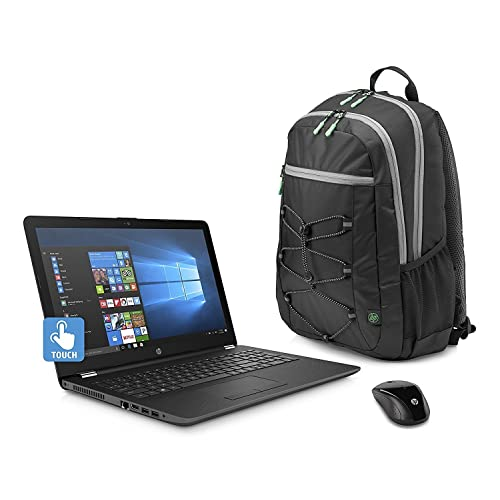"""HP 15.6"""" HD Touch Screen Laptop Bundle , AMD A12-9720P Quad core processor 2.7 GHz, 8GB DDR4, 1TB HDD, DVD, WiFi, Webcam, Windows 10, Gray, Wireless Mouse and Backpack Included."""