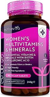 Multivitaminas y minerales para mujer - 24 vitaminas y minerales activos esenciales que incluyen Biotina y Ácido Hialuróni...