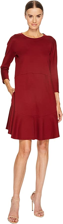 Jil Sander Navy Knit Long Sleeve Dress with Flounce Hem