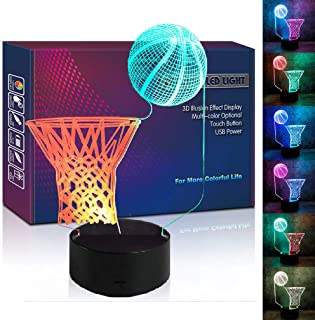 Basketball Hoop LED 3D Illusion USB Night Light Desk Lamp Christmas School Present Birthday Gift for Sports Fan Player Husband Teenager Men Boyfriend Boy Kid Bedroom Decoration Room Decor (Basketball)