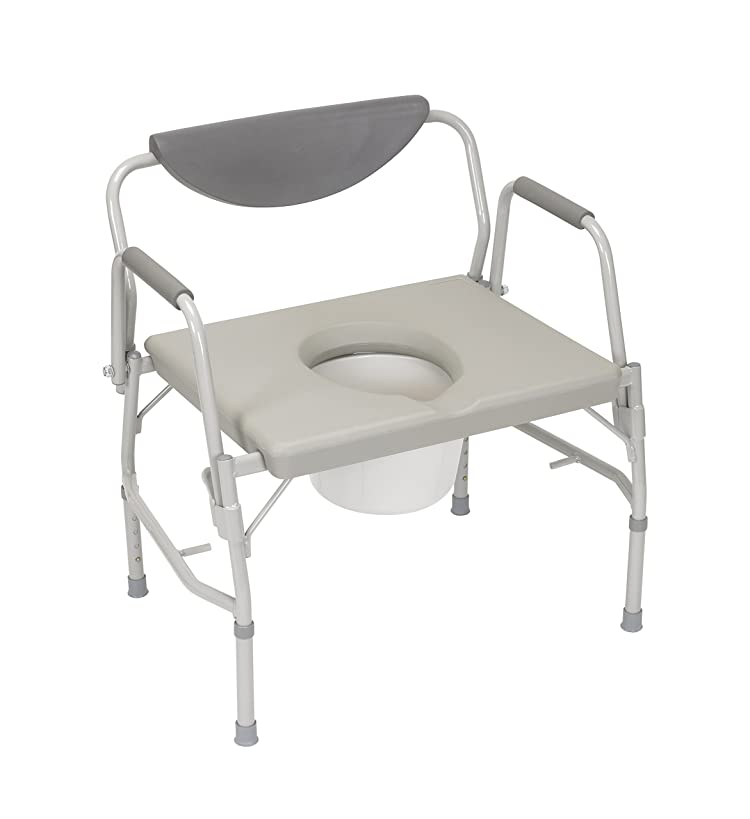 HEALTHLINE Heavy Duty Drop Arm Bariatric Commode | Bedside Commode Toilet Chair with Arms and Bathroom Safety Frame for Elderly, Adults | Adjustable Seat Height, Extra-Wide, 500 lbs
