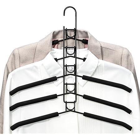 PUPOUSE Cintres à Vêtements Multicouches 5 en 1 en Éponge Antidérapante en Métal pour Vêtements Garde-Robe Armoire Multifonctionnelle Rangement pour Vêtements Économiseur d'Espace, Noir
