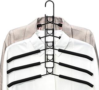 PUPOUSE Cintres à Vêtements Multicouches 5 en 1 en Éponge Antidérapante en Métal pour Vêtements Garde-Robe Armoire Multifo...