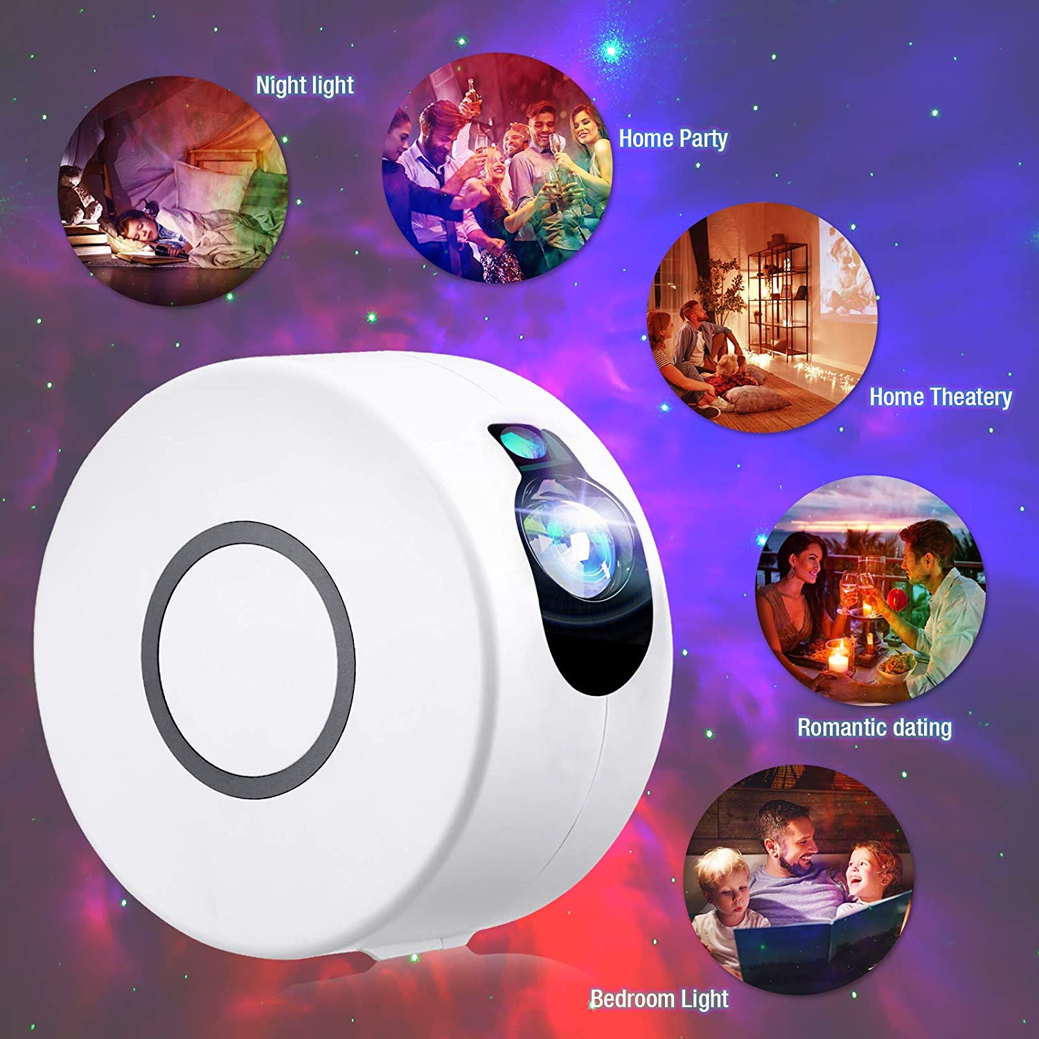 15 Lighting Effects Star Light Night Projector with LED Nebula Cloud Star Projector White Projector for Bedroom//Ceiling//Room Decor and Mood Ambiance Lighting White