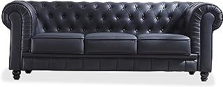 comprar comparacion Adec - Chesterfield, Sofa de Tres plazas, Sillon Descanso 3 Personas Acabado en simil Piel Color Negro, Medidas: 211 cm (L...