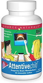 Source Naturals Attentive Child Chewable Wafers for Brain Metabolism Support - 60 Fruit Wafers