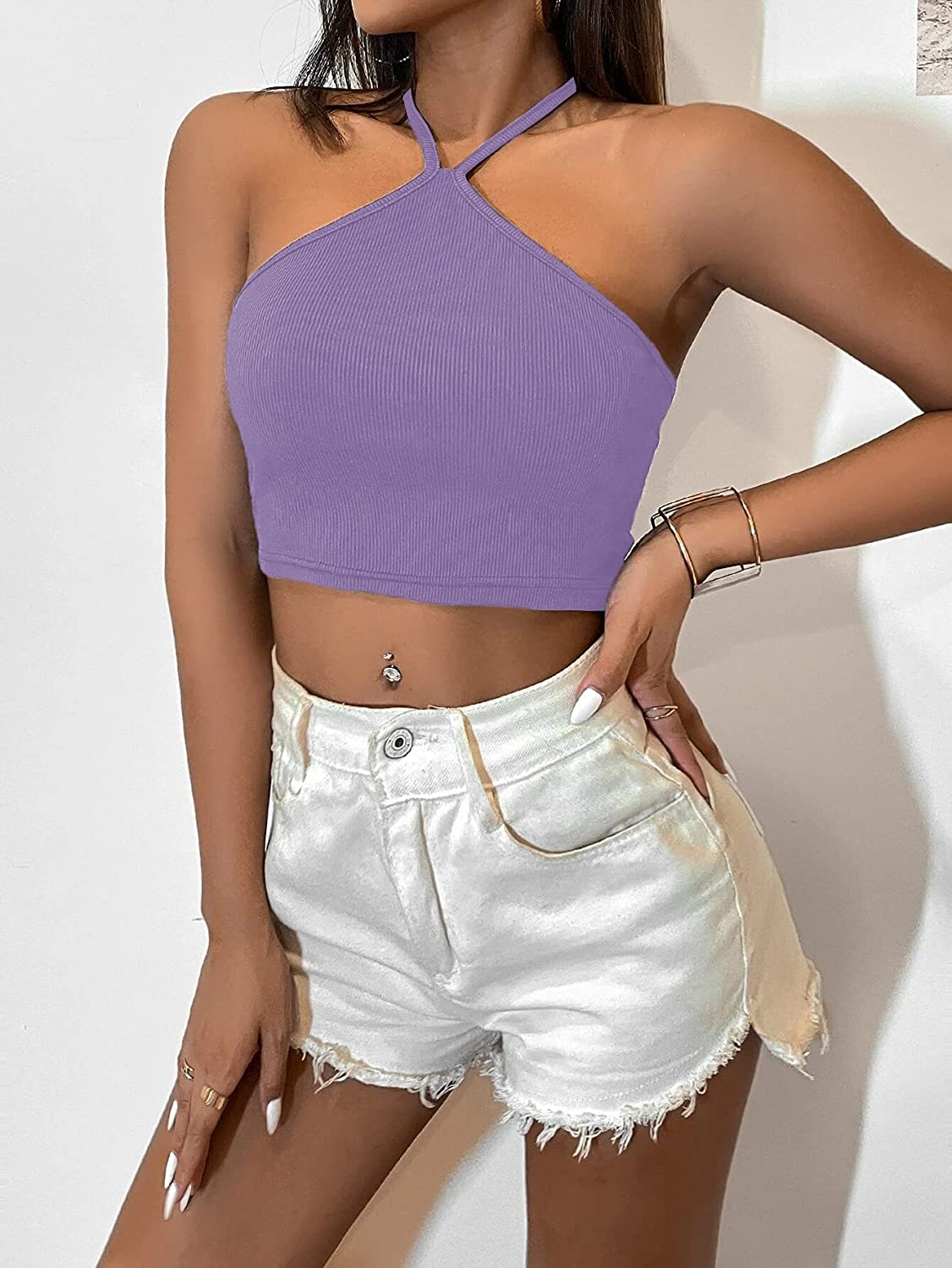 Milumia Women's Backless Halter Cami Crop Top Sleeveless Tie Back Camisole