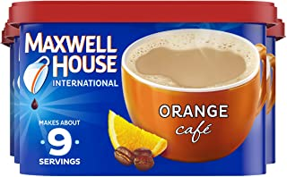 Maxwell House Orange Instant Coffee International Cafe (9.3 oz Canisters, Pack of 4)
