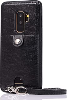 Galaxy S9 Plus PU Wallet Cover Card Holder Slot Protective Crossbody Chain Strap