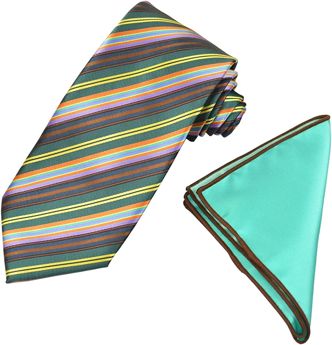 Emerald Green Striped Men's Tie with Contrast Pocket Square Set