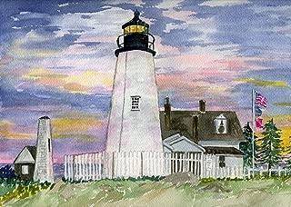 Pemaquid Point Lighthouse Sunset. Maine Coast. Diana Hertz Matted Watercolor Art Prints (5x7)
