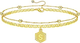 SAILIMUE 14K Gold Plated Letter Initial Bracelets for Women Layered Personalized Bracelet Gold Charm Chain Dainty Bracelet...