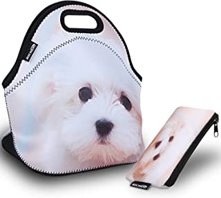 RICHEN Neoprene Lunch Bag with Cutlery Kit Neoprene Case for Knife,Fork,Spoon,Thermal Thick Lunch Tote Bag,Reusable Bags for Adults and Kids,White Dog Design (RLB-06)