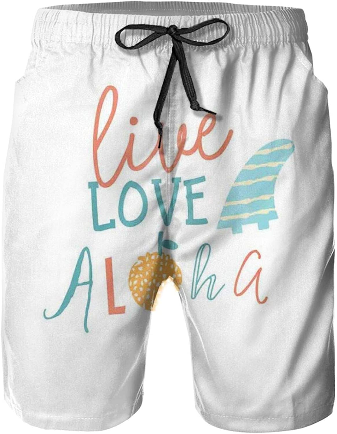 Live Love Aloha Inspirational Text Quote with Abstract Fruit Swimming Trunks for Men Beach Shorts Casual Style,XL