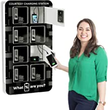 KwikBoost 8 Bay Cell Phone Charging Locker | Wall Mounted Mobile Device Charging Station with Digital Keypad Locks | Easy Setup – Only One Standard Outlet Needed! (8 Unit / 16 Cables Included)