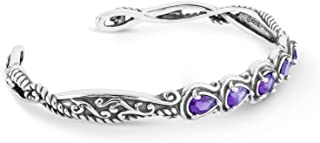 Carolyn Pollack Sterling Silver Mulit Gemstone Choice of 4 Different Colors Five Stone Cuff Bracelet Size S, M or L