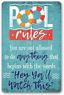 Metal Sign - Pool Rules - Durable Metal Sign - 8