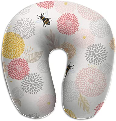 KIENGG Flowers and Bees U Shaped Neck Pillow Case Memory Foam,Novelty Travel Rest Pillow Pain,Breathable Soft Comfortable Adjustable