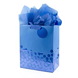 """Hallmark 13"""" Large Gift Bag with Tissue Paper (Blue Foil Dots) for Birthdays, Fathers Day, Graduatio"""