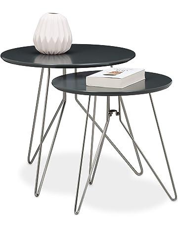in Legno Massello Anticato SOULONG Tavolini ad Incastro tavolini da caff/è Impilabili Tavolino dappoggio 3 Pezzi Tavolini Set,Tavolino da Divano