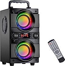 اسپیکر بلوتوث قابل حمل 60 وات (80 وات اوج) با باس سنگین با دو ساب ووفر ، بلندگوی بیرونی 100 فوت بی سیم بلوتوث 5.0 ، رادیو FM پشتیبانی ، چراغ های رنگارنگ LED ، صدای استریو ، برای خانه ، مهمانی ، مسافرت
