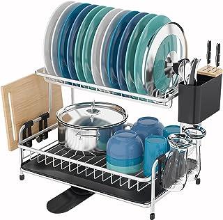 Kingrack Égouttoir à vaisselle en aluminium, 2 niveaux, grande capacité avec plateau extensible, porte-gobelet amovible, p...