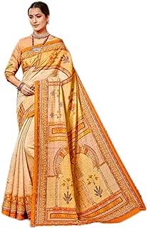 Indian Ethnic Traditional Formal Digital Printed Pure Banarasi Silk Saree Festival Blouse Women Sari 8701