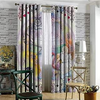 hengshu in Wonderland Room Darkened Insulation Grommet Curtain Magical Fantasy World of Adventure Clock Flamingo Cheshire Cat Rabbit Retro Living Room W84 x L96 Inch Multi