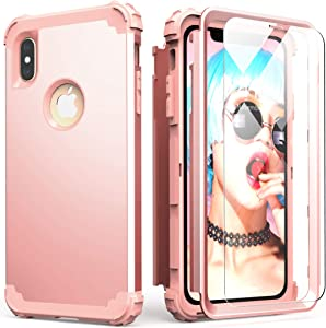 IDweel iPhone Xs Max Case with Tempered Glass, Hybrid 3 in 1 Shockproof Slim Fit Heavy Duty Protection Hard PC Cover Soft Silicone Rugged Bumper Full Body Case for iPhone Xs Max 6.5 Inch, Rose Gold