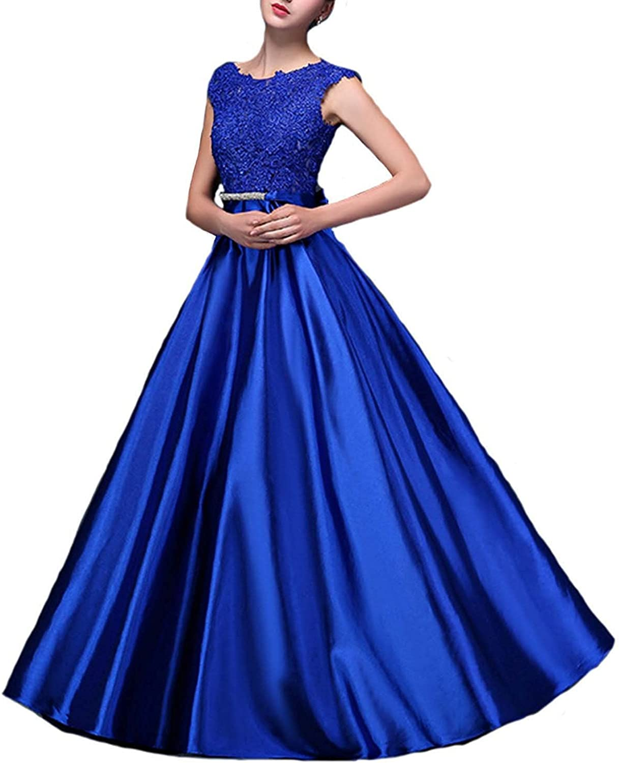 QiJunGe Long Satin Appliqued Evening Prom Dresses with Bow Knot Sash