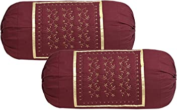 Rj Products Embroidered Cotton Bolsters Cover Maroon - Pack of 2