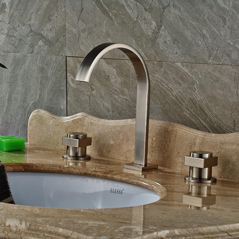 Retro Deluxe Fauceting Nickel gebürstet Badezimmer Waschbecken Wasserhahn Dual Griffe Waschbecken Mixer
