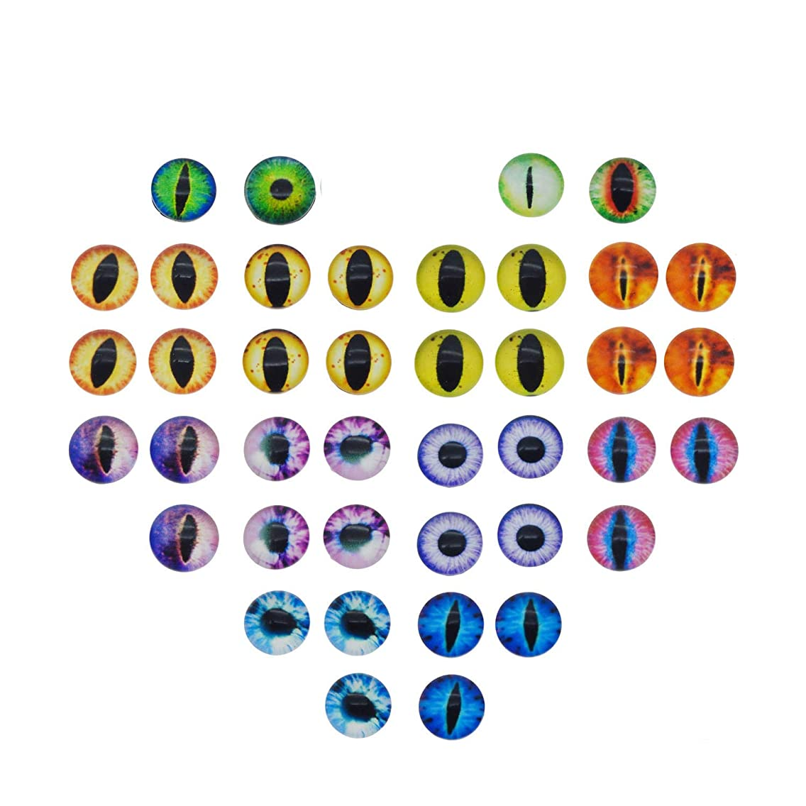 200PCS 8x8MM Round Glass Dragon Cat Eye Cabochon for Doll Animal Eyes Making Or Jewelry Making