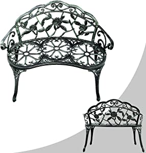COSTWAY Outdoor Garden Bench Iron Patio Garden Furniture 2 Seater Chair for Outdoors, Porch Loveseat with Curved Legs Cast Aluminum Rose Antique Style