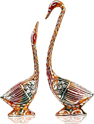 Collectible India Love Birds Metal Statue Set for Wedding Gift and Home Decor (11x9.5x1.5-inch, Multicolour)
