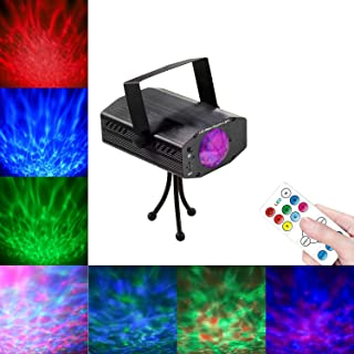 Leaden Party Laser Lights, 7 Colors Led Stage Party Light Projector, Strobe Water Ripples Lighting for Parties Room Show Birthday Party Wedding Dance Lighting with Remote Control(Black)