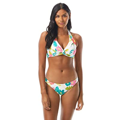 Kate Spade New York Tropical Floral Knotted Halter Bikini Top w/ Removable Soft Cups (White) Women