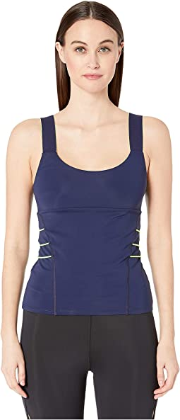 Scoop Neck Fitted Tank with Contrast Cording at Side