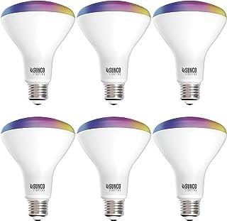 Sunco Lighting 6 Pack فلاش LED Smart Bulb، BR30، 8W، تغییر رنگ (RGB و CCT)، Dimmable، 650 LM، سازگار با آمازون Alexa & Google Assistant - No Hub Required