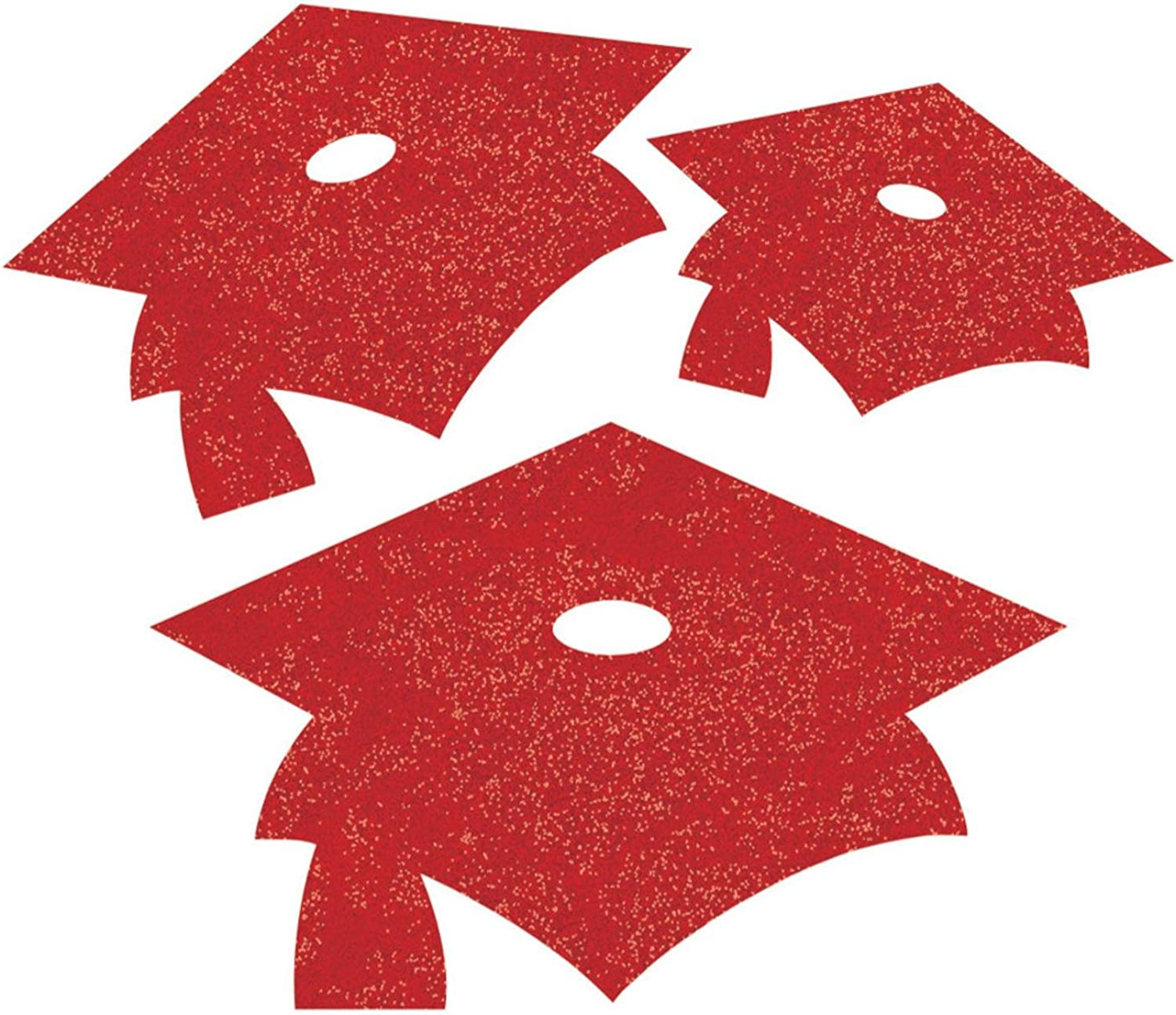 Party Central Club Pack of 72 Classic Red Graduation Cap Mini Glitter Cutouts