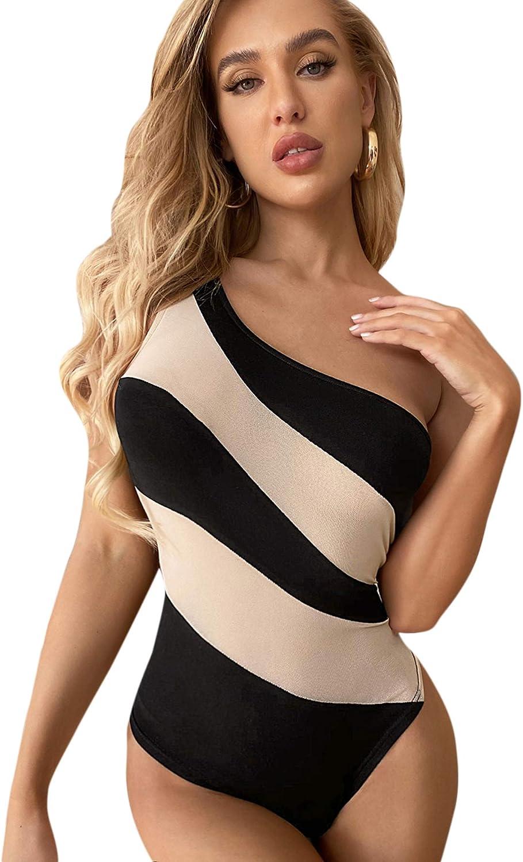 SheIn Women's Sexy One Shoulder Sleeveless Stretch Color Block One Piece Bodysuit