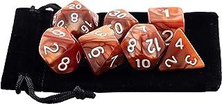 Kit 7 Dados RPG de Mesa D&D Opaco Perolado D4 D6 D8 D10 D10% D12 D20 Cor MARROM + 1 Bolsa