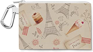 Love From Paris Canvas Zip Pouch - Multi Purpose Pencil Case Bag
