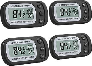 Justech 4pcs Thermomètre de Réfrigérateur Thermomètre à Congélateur numérique avec Grand Écran LCD et Fonction d'Enregistr...