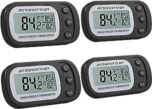 Justech 4PCs Higrometros Digitales Colgantes con Ganchos Termometro Higrometro Impermeable Ipx3 Medidor de Temperatura con 4 Botones Termometro Digital Interior de Batería para Casa Habitación